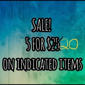 All $5 Items are 5 for $20!!